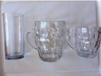 Traditional glass handled pint and half pint glasses (dimple pin tankards)