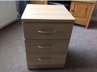 Maple effect 3 drawer bedside cabinet