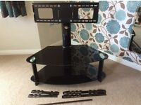 Black Tempered TV Glass Stand