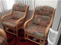 Cane conservatory suite - 2 seater sofa & 2 chairs