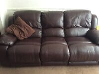 3 Seater leather settee & 2 armchairs with recliners
