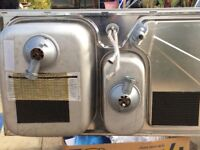 Stainless steel sink and taps