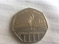 50p public library coin 2000