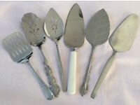 6 Stainless Steel Cake, Dessert Servers.