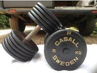2 x 55kg Casall Sweden Cast Iron Dumbbell Weights