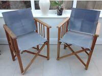 2 Directors chairs vintage in blue canvass