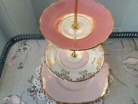 Pink Mismatched Bone China 3 Tier Cake Stand.