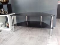 Black glass tv stand with chrome legs