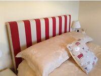 Bespoke double headboard, red and beige stripe.