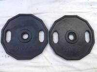 2 x 20kg Dual-Grip Rubber Olympic Weights