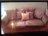 1 x Gold coloured chenille sofas. Back cushions separate and reversible