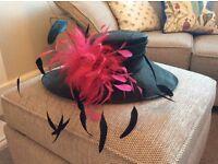 Beautiful black and fuchsia pink formal ladies hat