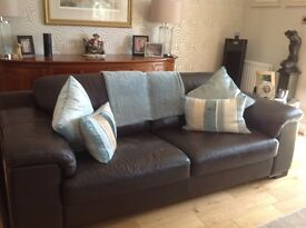 Large Brown Leather Sofa from Reid's in good condition