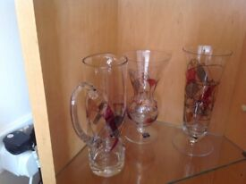 Lucka glass vases and jug