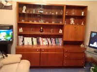 Teak wall unit with drinks cabinet