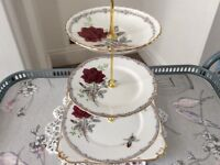 Royal Stafford Bone China 3 Tier Cake Stand Roses to Remember.