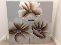 Large Flower Picture on Canvas Frame