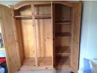 3 door Mexican pine wardrobe Excellent condition . £80