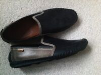Mens Pikolinos Slip On Soft Leather Shoes, Navy and Taupe, 11/45, Hardly Worn