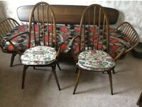 Two Ercol Quaker Carvers Gold label