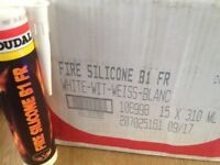 White silicone sealant fire retardant Soudal fixing white. BARGAIN......