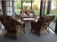 Cane conservatory furniture, sofa and two chairs