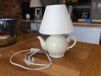 Cream teapot lamp and shade