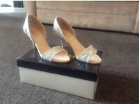 Size 3 Kurt Geiger silver and nude shoes