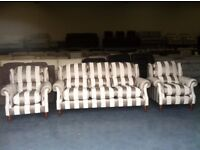 New P.K. Henley mink striped fabric 3 seater sofa and 2 armchairs