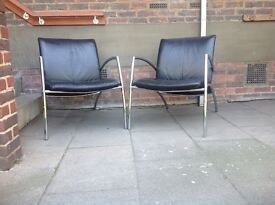 Two KEBE Vintage Retro Black Leather Accent Chairs