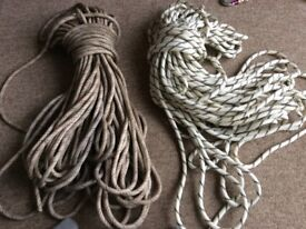 Static climbing rope for abseiling x2