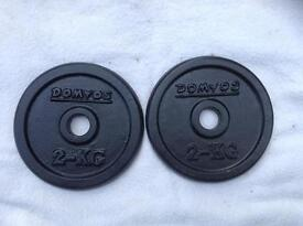 18 x 2kg Domyos Standard Cast Iron Weights