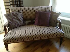 UNUSUAL ANTIQUE SOFA WITH INTRICATE WOODEN CARVING AND CHAIR