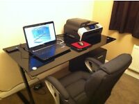 Desk Black Glass Top with Integrated 3 Drawer Unit