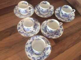 Royal Worcester Blue Dragon Vintage Bone China Coffee Cups and Saucers x 6 with Gold Trim