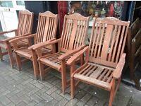 Set of 5 hardwood garden chairs