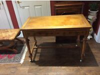 Antique Writing Table , oak legs and leather top. Believed to be early nineteenth century.