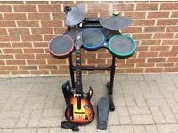 Nintendo Guitar Hero and Drum set