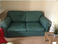 Two seater, metal action, teal, bed settee.
