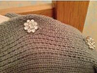 Women's Grey Poncho, Scarf with Diamante Flower Buttons BNWT