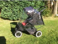Phil & Teds Dot Double Buggy with Travel System, Double Rain Cover,