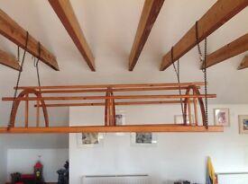 Extra Large Wooden Hanging Pot and Pan Rack
