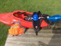 Dagger Kayak, Werner Paddle, Scrappy helmet, buoyancy aid, spray deck,.