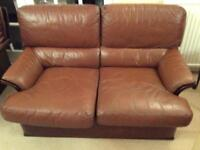 Italian leather two seater sofa/settee 1970s/1980s vintage