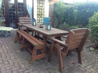 Quality wooden patio dining set