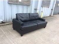 3 Seat Black Leather Sofa - Ex Display - £199 Including Free Local Delivery