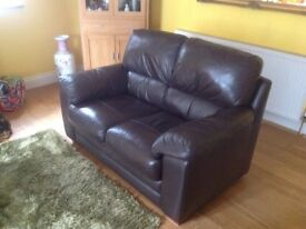 Quality brown leather 2 & 3 seater sofas.