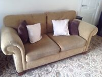 3 piece suite. VGC. Light brown. Complete with cushions