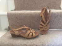 Ladies Pavers tan wedge heel sandals size 3