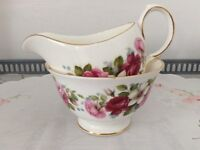Queen Anne Bone China Milk Jug and Sugar Bowl. Pink & Red Floral.